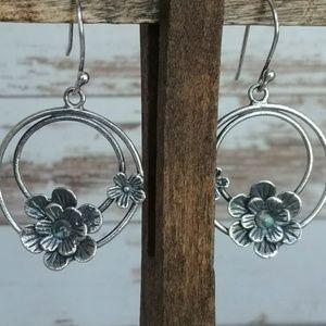 Jewelry - Sterling Silver Floral Moonstone Earrings